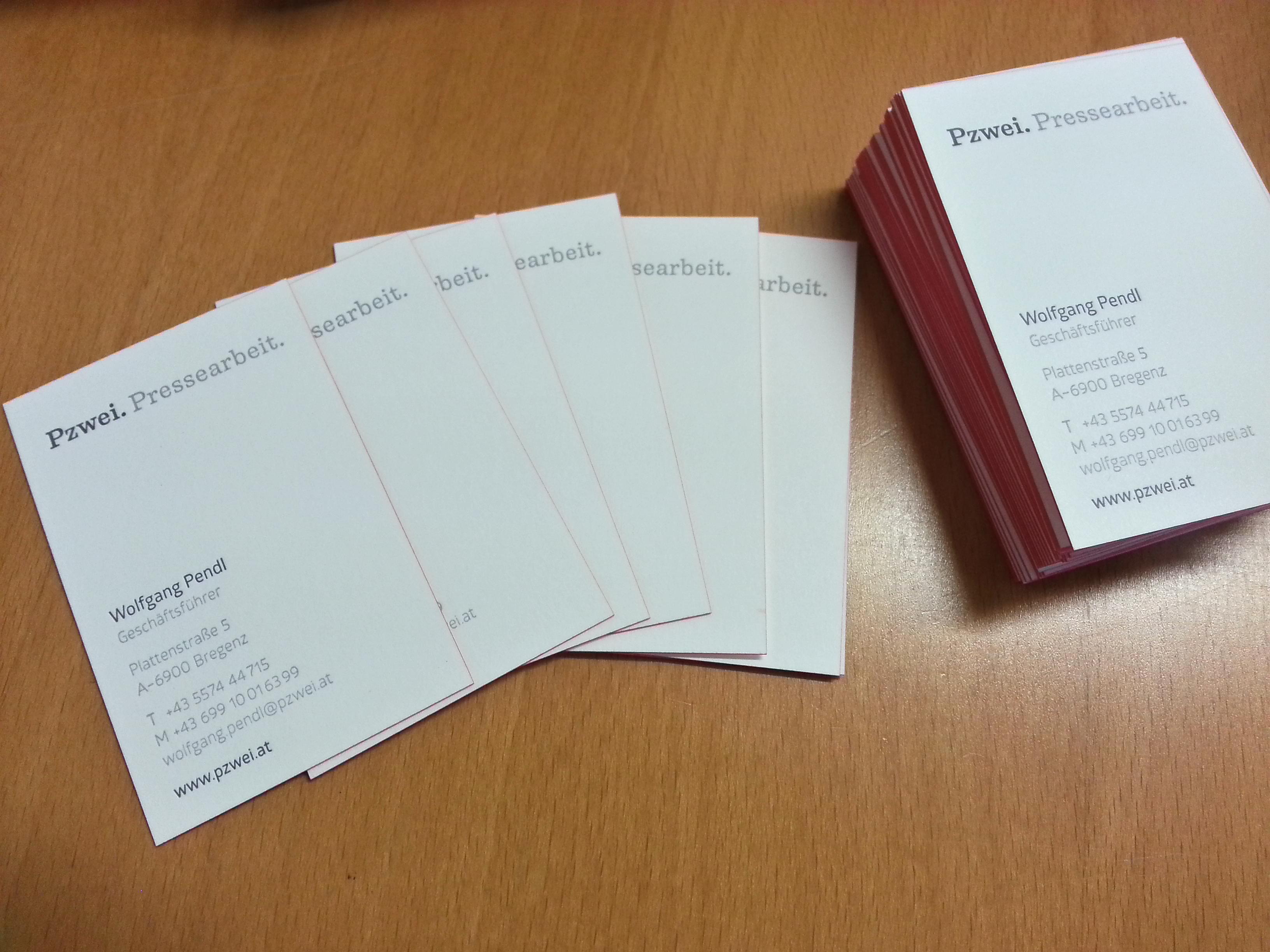 Visitenkarten Pzwei. Pressearbeit.