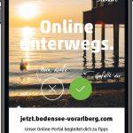 JETZT-Flyer  Mit einem Flyer in Form eines Smartphones wirbt Bodensee-Vorarlberg Tourismus für das mobile Informationsangebot JETZT.  Copyright: Bodensee-Vorarlberg Tourismus GmbH.
