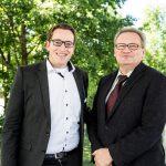 Geschäftsführer Urs Treuthardt und Präsident Karlheinz HehleGeschäftsführer Urs Treuthardt und Präsident Karlheinz Hehle konnten sich bei der Jahreshauptversammlung von Bodensee-Vorarlberg Tourismus über einen erfolgreichen Start der digitalen Vermarktungsstrategie freuen.Copyright: Bodensee-Vorarlberg Tourismus GmbH/Roswitha Natter.