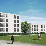 """Außenansicht """"smart WOHNEN am Riedpark""""  Die drei Häuser von """"smart WOHNEN"""" sind stimmig ins neue Quartier Riedpark integriert.  Copyright: i+R Dietrich Wohnbau/Banholzer Projektenwicklungen GmbH."""