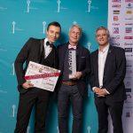 AdWin-Sieger 2017 nicht kommerzielle Werbung  von links: Emanuel Wiehl, Marco Spitzar (beide studio spitzar), Arno Riedmann (Weekend-Magazin)  Copyright: Michael Nussbaumer. Abdruck honorarfrei zur Berichterstattung über den AdWin 2017. Angabe des Bildnachweises ist Voraussetzung.