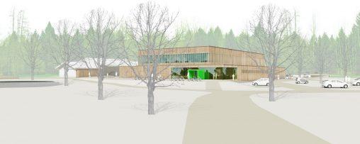 i+R / Sporthalle Moos: Visualisierung außen