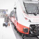 Ankunft des neuen ÖBB Cityjet TALENT3 in Vorarlberg  Ankunft im Schneetreiben: Seit Montagvormittag ist der ÖBB Cityjet TALENT3 von Bombardier auf Vorarlbergs Schienen unterwegs. Er bringt mehr Sitzplätze und mehr Komfort.  Copyright: Udo Mittelberger. Abdruck honorarfrei zur Berichterstattung über den ÖBB Cityjet TALENT3. Angabe des Bildnachweises ist Voraussetzung.