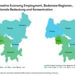 Creative-Economy-Employment-DACHLI-Regionen  Regionale Bedeutung und Konzentration 2015: Die Karten zeigen die geografische Konzentration der Creative Economy. Grün eingefärbte Regionen sind jene, in denen der Erwerbstätigenanteil der Creative Economy überdurchschnittlich hoch ist.  Copyright: ZHdK. Abdruck honorarfrei zur Berichterstattung über die IBH, ZHdK und HTWG. Angabe des Bildnachweises ist Vorausetzung.