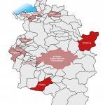 """e5-Vorarlberg-Karte-Gemeinden-Audit-2019  Elf Gemeinden unterzogen sich in diesem Jahr der Zertifizierung im e5-Programm für energieeffiziente Gemeinden. Sie erreichten insgesamt 42 """"e"""" als Auszeichnung.  Copyright: Energieinstitut. Abdruck honorarfrei zur Berichterstattung über das e5-Programm für energieeffiziente Gemeinden. Angabe des Bildnachweises ist Voraussetzung."""