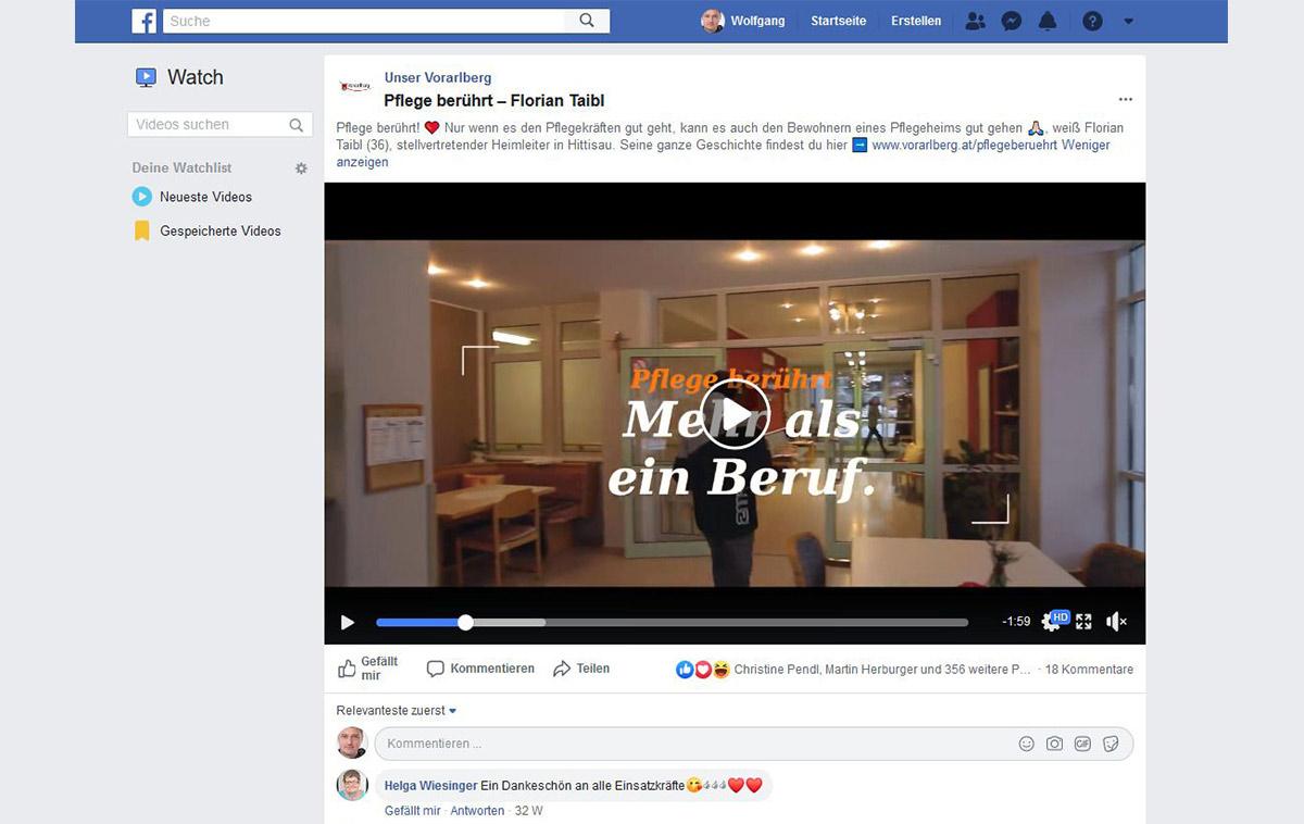Pflege berührt - Facebook
