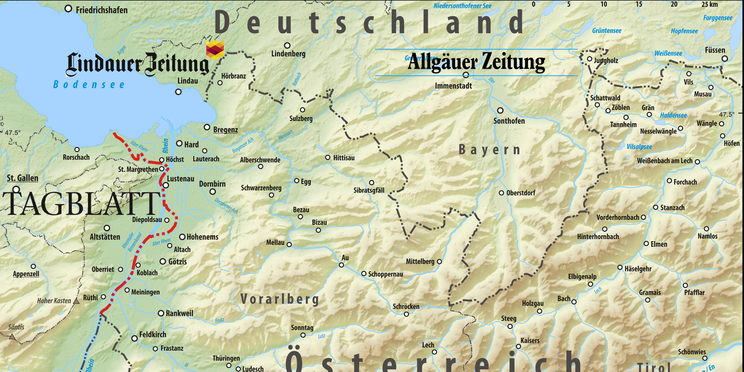 Mediale Grenzüberschreitungen: Schwäbische Zeitung Lindau, St. Galler Tagblatt, Allgäuer Zeitung