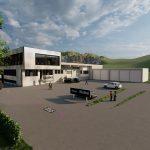 Betriebserweiterung Waibel GmbH  Bis März 2022 wird der Firmensitz der Waibel-Gruppe in Klaus erweitert und modernisiert.  Copyright: Hassler Architektur. Abdruck honorarfrei zur Berichterstattung über die Waibel GmbH. Angabe des Bildnachweises ist Voraussetzung.