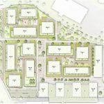 Vierlinden-Quartier: Lageplan  Aus dem ehemaligen Industrieareal wird in den nächsten Jahren das Vierlinden-Quartier.  Visualisierung: i+R. Verwendung honorarfrei zur Berichterstattung über das Vierlinden-Quartier, Lindau. Angabe des Bildnachweises ist Voraussetzung.