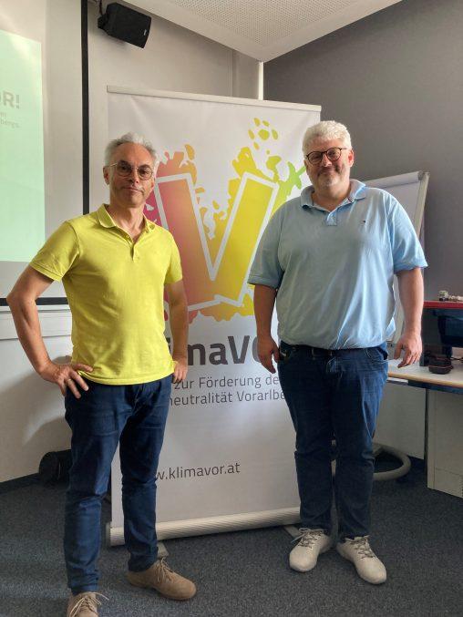 Christof Drexel (KlimaVOR!) und Lucas Rupp (Weider Wärmepumpen)