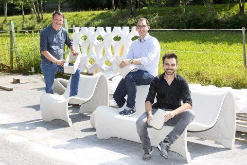 Concrete 3D: Geschäftsführer Philipp Tomaselli (l.) und Markus Loacker (m.) mit Bereichsleiter Michael Gabriel (r.)
